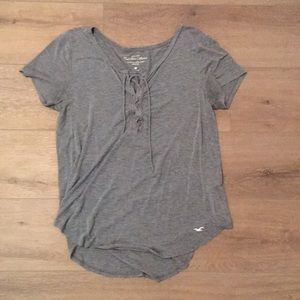 Hollister Gray Lace Up Tee L